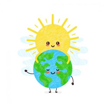 Bonito sol feliz abraça o planeta terra