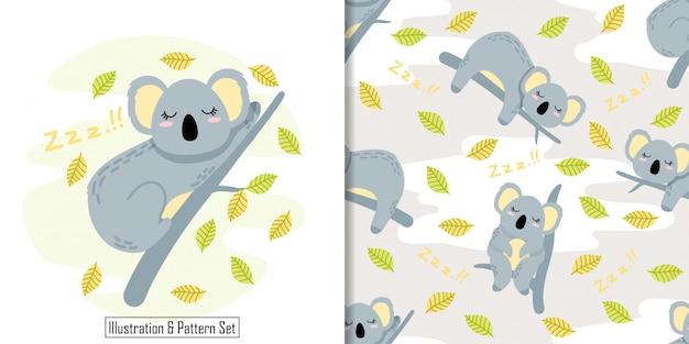 Bonito sono koala cartão mão desenhada sem costura padrão conjunto