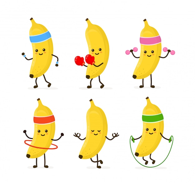 Bonito sorridente feliz banana forte saúde e fitness conjunto.