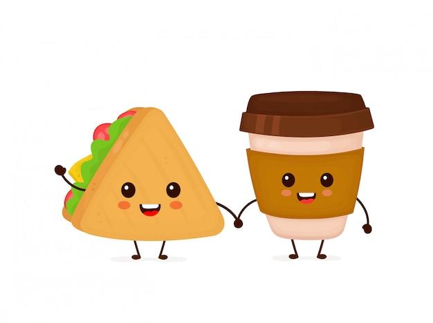 Bonito sorridente feliz sanduíche e café copo de papel