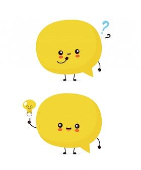 Bonito sorriso feliz balão com ponto de interrogação e lâmpada de ideia. ilustração de personagem de desenho animado plana. isolado no fundo branco. conceito de personagem de bolha do discurso