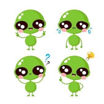 Bonito sorriso feliz e triste personagem alienígena coleção definida. conceito de personagem alienígena