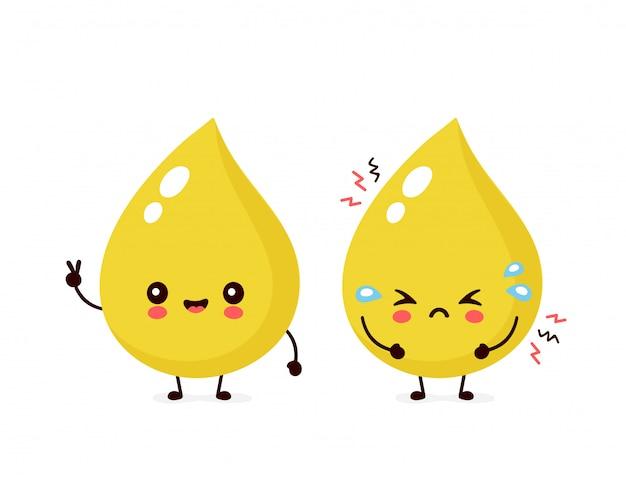Bonito sorriso saudável feliz e triste triste gota de urina insalubre.