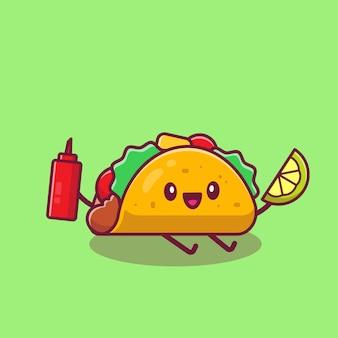 Bonito taco segurando limão e ilustração de ícone dos desenhos animados de molho. conceito de ícone de desenho animado de fast-food isolado. estilo flat cartoon
