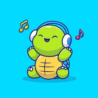 Bonito tartaruga ouvindo música com ilustração de ícone de desenho animado de fone de ouvido. animal music icon concept premium. estilo desenho animado