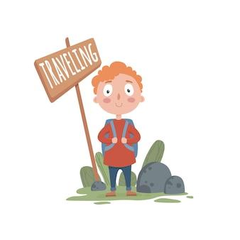 Bonito turista rapaz viajar conceito fundo. ilustração dos desenhos animados do bonito garoto turista viajando