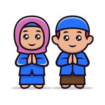 Bonito um casal de crianças muçulmanas mascote 1