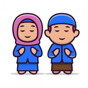 Bonito um casal muçulmano crianças mascote 2
