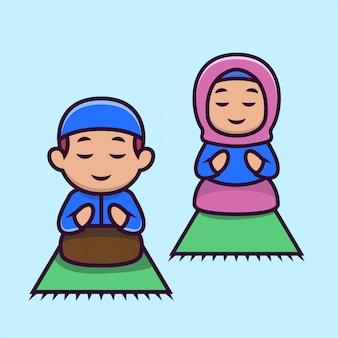 Bonito um casal muçulmano crianças mascote 3