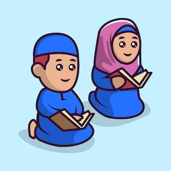 Bonito um casal muçulmano crianças mascote 5