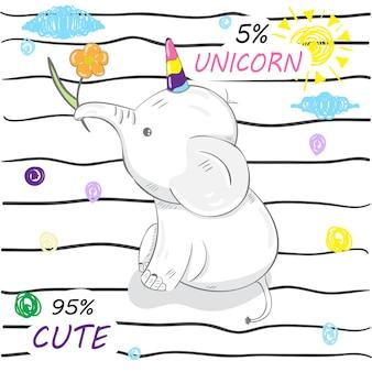 Bonito unicórnio de elefante de desenhos animados