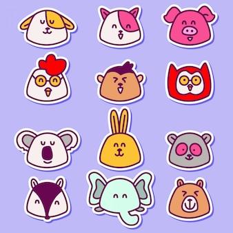 Bonito vários desenhos de animais chibi