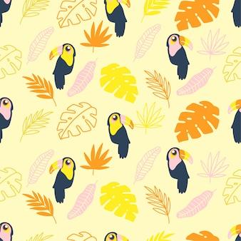 Bonito verão tucan pássaro sem emenda desenhos animados conjunto