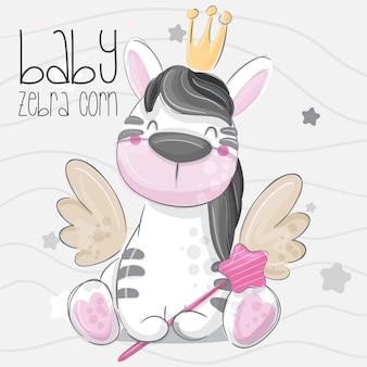 Bonito zebra mão desenhar ilustração vetorial