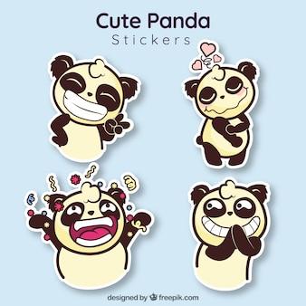 Bonitos adesivos de panda com estilo divertido