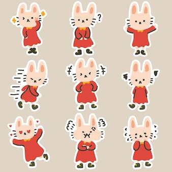 Bonitos adesivos expressivos coloridos e adoráveis com ilustração de doodle de coelho