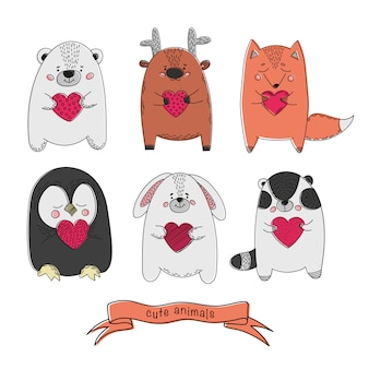 Bonitos animais valentines cartoon conjunto de ilustração vetorial