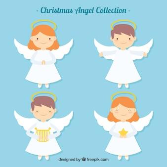 Bonitos anjos de natal em design plano