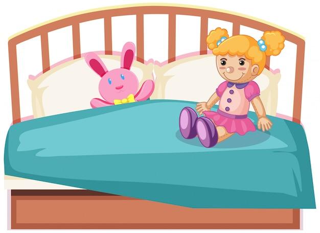 Bonitos brinquedos na cama