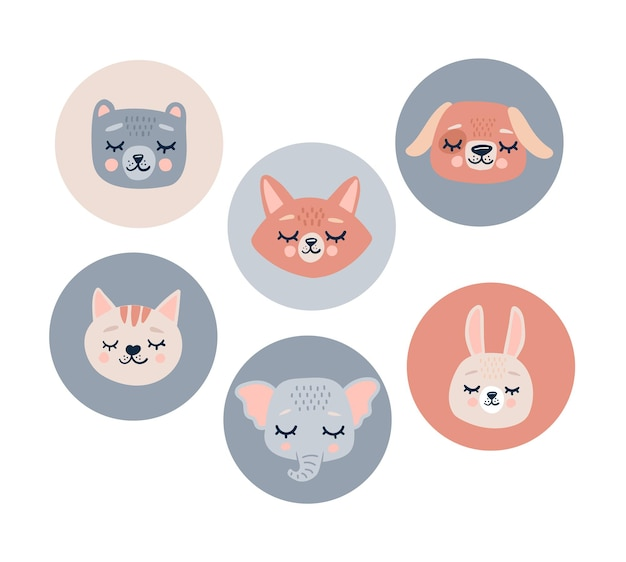 Bonitos cabeças de animais adesivos de rosto com olhos fechados.