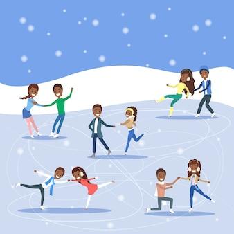 Bonitos casais românticos patinam juntos ao ar livre. atividade de inverno e esporte profissional. ilustração