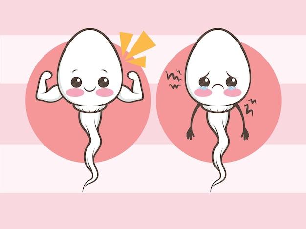 Bonitos células de esperma saudáveis e insalubres. desenho animado