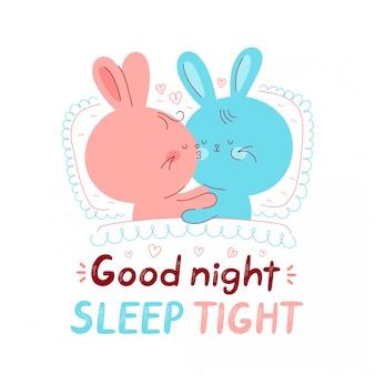 Bonitos coelhos felizes na cama. cartoon personagem mão desenho ilustração estilo. isolado no fundo branco boa noite sono cartão apertado