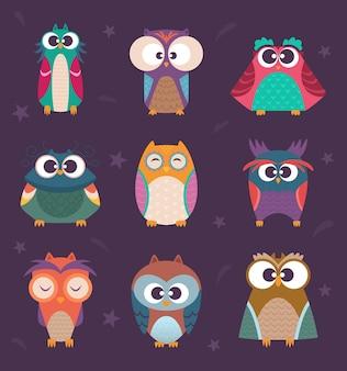 Bonitos corujas. aves selvagens crianças coloridas