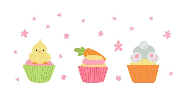 Bonitos cupcakes de páscoa com ilustração de coelho