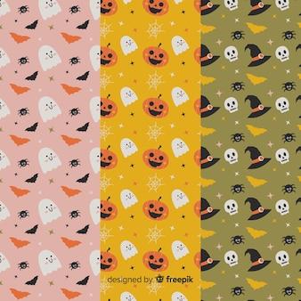 Bonitos desenhos animados animados coleção de padrão de halloween plana