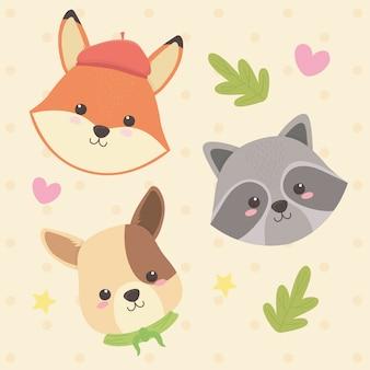 Bonitos e pequenos animais com folhas e personagens de corações