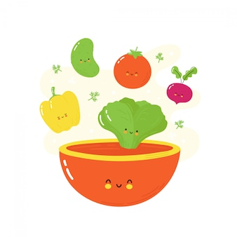 Bonitos felizes sorridentes legumes caindo na tigela de salada. isolado no branco projeto de ilustração vetorial personagem dos desenhos animados, estilo simples simples
