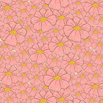 Bonitos flores cor de rosa doodle desenho de fundo sem emenda