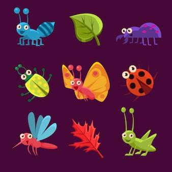 Bonitos insetos e folhas com emoções. coleção de ilustração vetorial