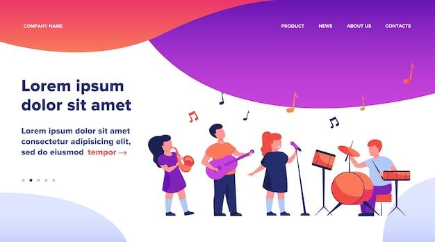 Bonitos jovens músicos na ilustração plana do festival de música da escola.