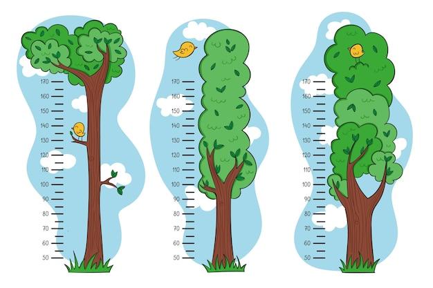 Bonitos medidores de altura desenhados ilustrados