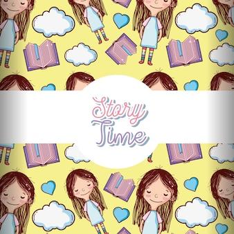 Bonitos meninas e livros de fundo