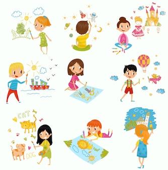 Bonitos meninos e meninas desenhando com conjunto de tintas e lápis de cor, jovens artistas, crianças atividade rotina ilustrações sobre um fundo branco