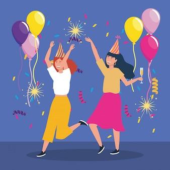 Bonitos mulheres com fogos de artifício e balões de brilhos