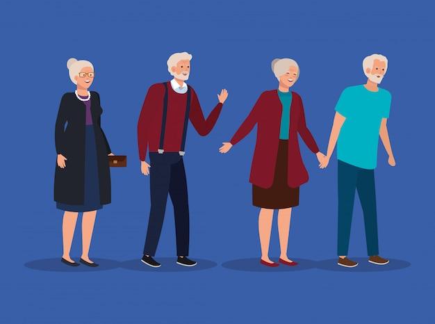 Bonitos mulheres velhas e homens juntos
