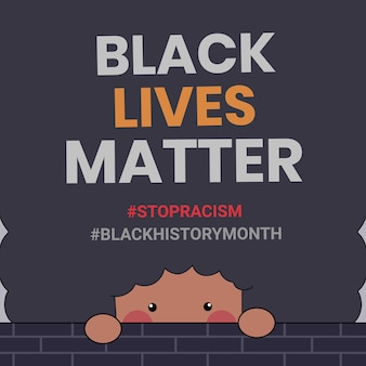 Bonitos ou pessoas com as palavras black lives matter escritas no fundo. ilustração do mês da história negra