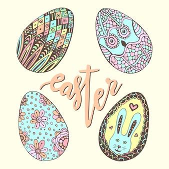 Bonitos ovos de páscoa. conjunto desenhado à mão doodle. decoração de férias feliz para cartão de saudação. ovo zentangle.