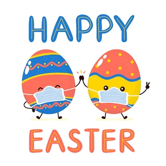 Bonitos ovos de páscoa sorridentes felizes em personagem de máscara mediacal. cartão de feliz páscoa. páscoa em quarentena, conceito de vírus corona