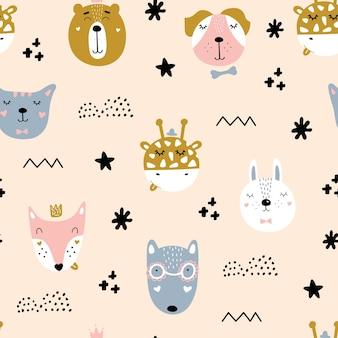 Bonitos padrões escandinavos sem costura com animais