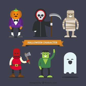 Bonitos personagens de halloween no design plano