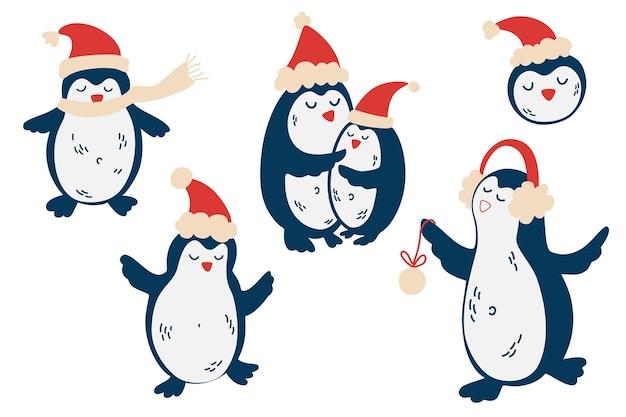 Bonitos pinguins em chapéus de natal. conjunto de vetores isolados de animal pinguim polar em lenço vermelho e chapéu. ilustração de ano novo infantil para convites, cartões, papel de parede, papel de presente.