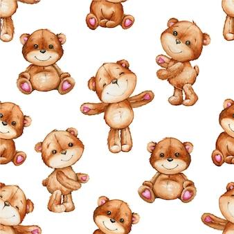 Bonitos ursos marrons, em diferentes poses. padrão sem emenda em aquarela, estilo cartoon.