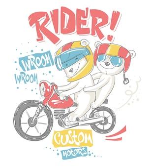 Bonitos ursos na motocicleta, design de t-shirt.