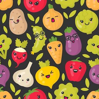 Bonitos vegetais sorridentes, padrão sem emenda em fundo escuro. melhor para têxteis, papel de embrulho