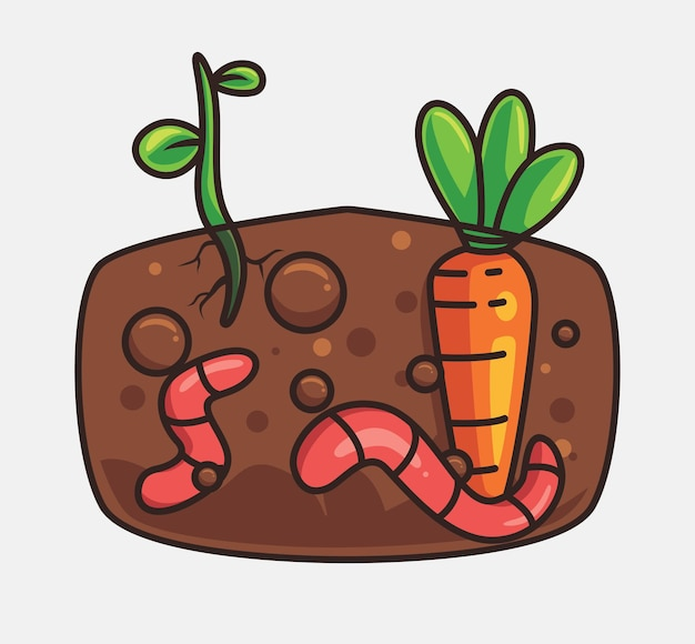 Bonitos vermes cultivando fertilizante desenho animado conceito de natureza animal ilustração isolada estilo simples